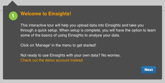 Einsights business analytics software guided tour